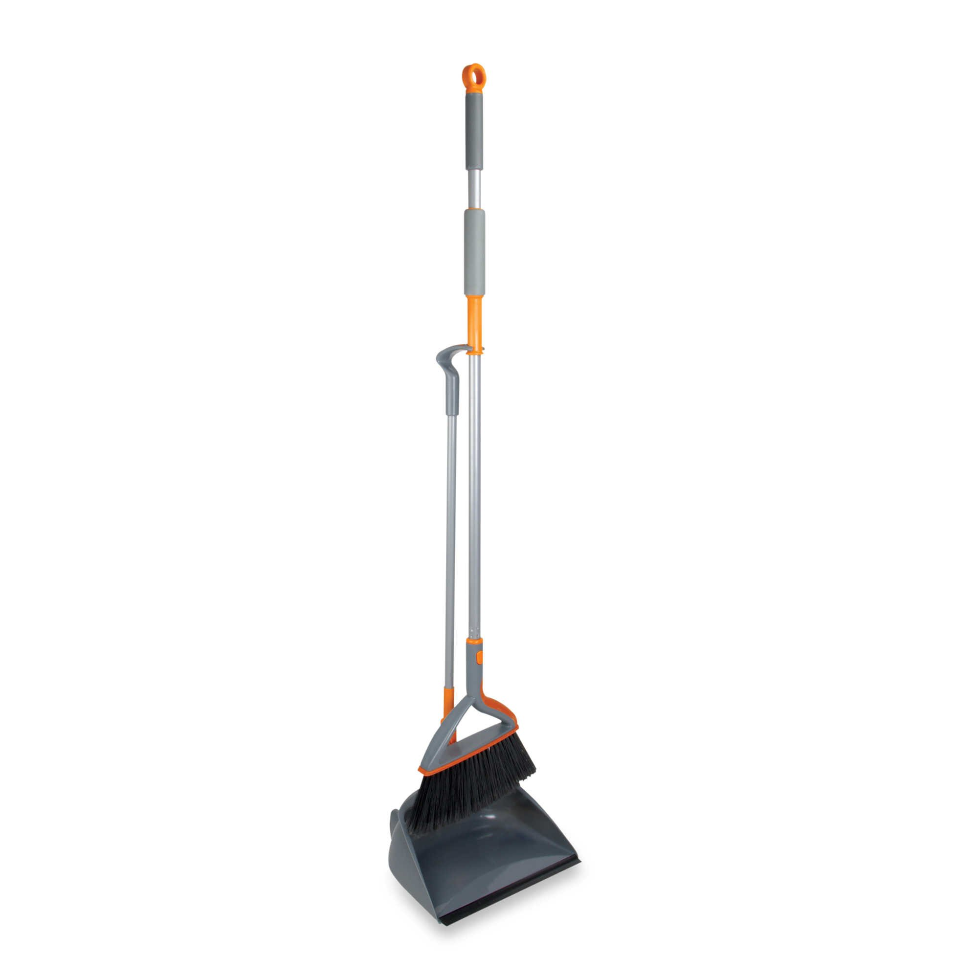 Casabella® Quick n' Easy™ Upright Sweep Set, Convenient, Easy to Store, Cleaning Makes Quick and Easy, in Colors Graphite/Orange