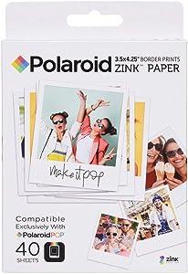 Zink Polaroid 3.5 x 4.25 inch Premium Zink Border Print Photo Paper (40 Sheets) Compatible with Polaroid POP Instant Camera & Polaroid 3x4 Printer