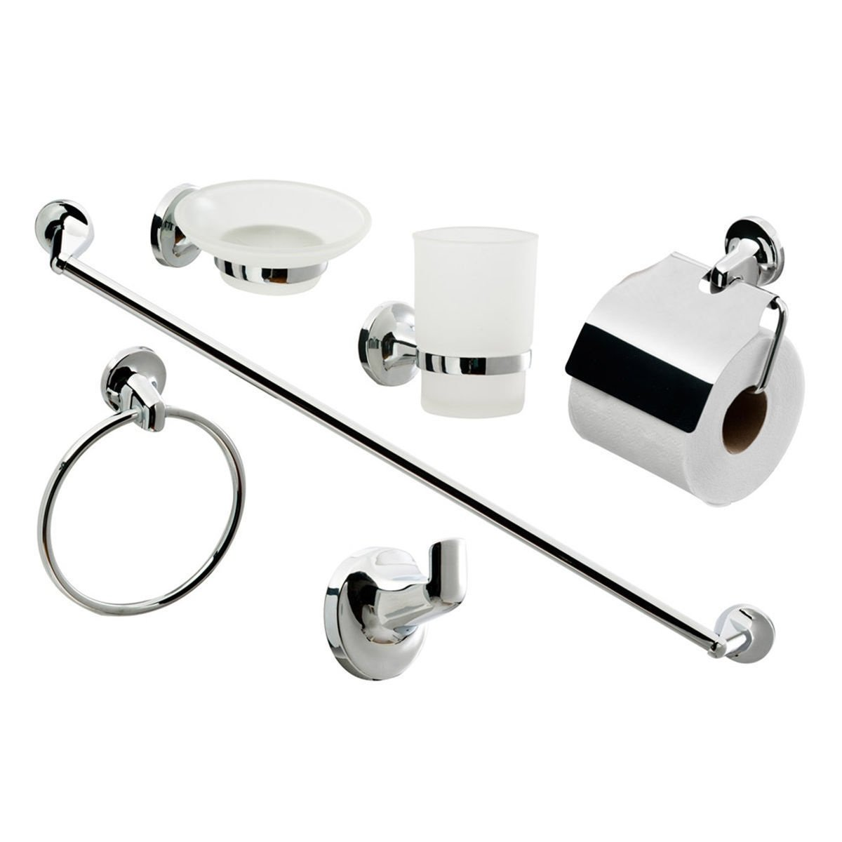 Bathroom Toilet Chrome 6 Piece Accessory Set Toilet Roll Holder Soap Dish Toothbrush Holder Towel Rail Robe Hook Casa