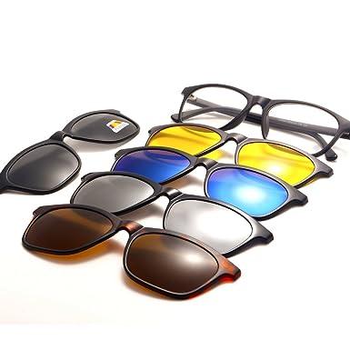 BERNICE 1pcs Marcos + 5pcs Lentes Magnético Polarizado Deporte Gafas al aire libre Gafas de sol para hombres Mujeres Unisex TR90 Marco de plástico ...