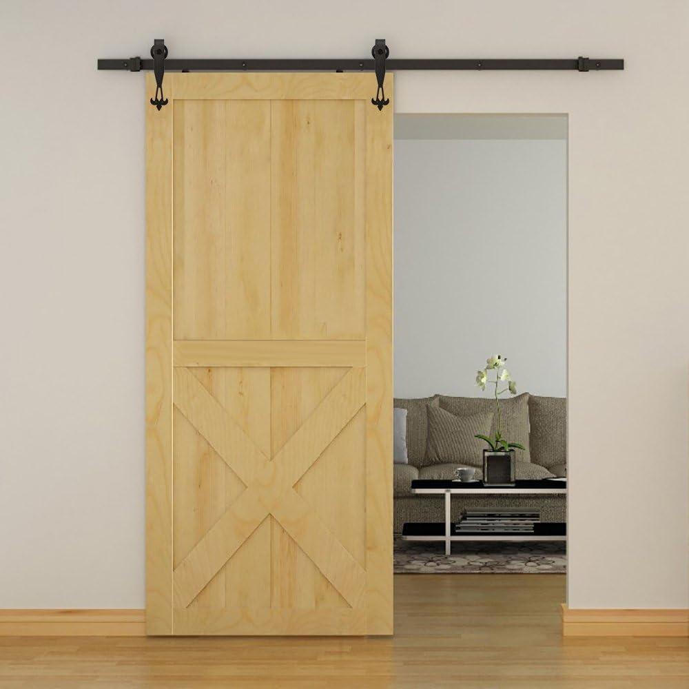 Hahaemall moderna nueva DIY herramientas acero ala rueda Roller puerta corrediza de granero Hardware pista Kit colgante único de madera puerta armario sistema: Amazon.es: Bricolaje y herramientas