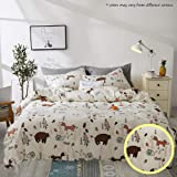 Jumeey Bear Duvet Cover Queen Animal Print Bedding Set Full Teens Boys Girls Cartoon Rabbit Fox Duvet Cover Woodland…