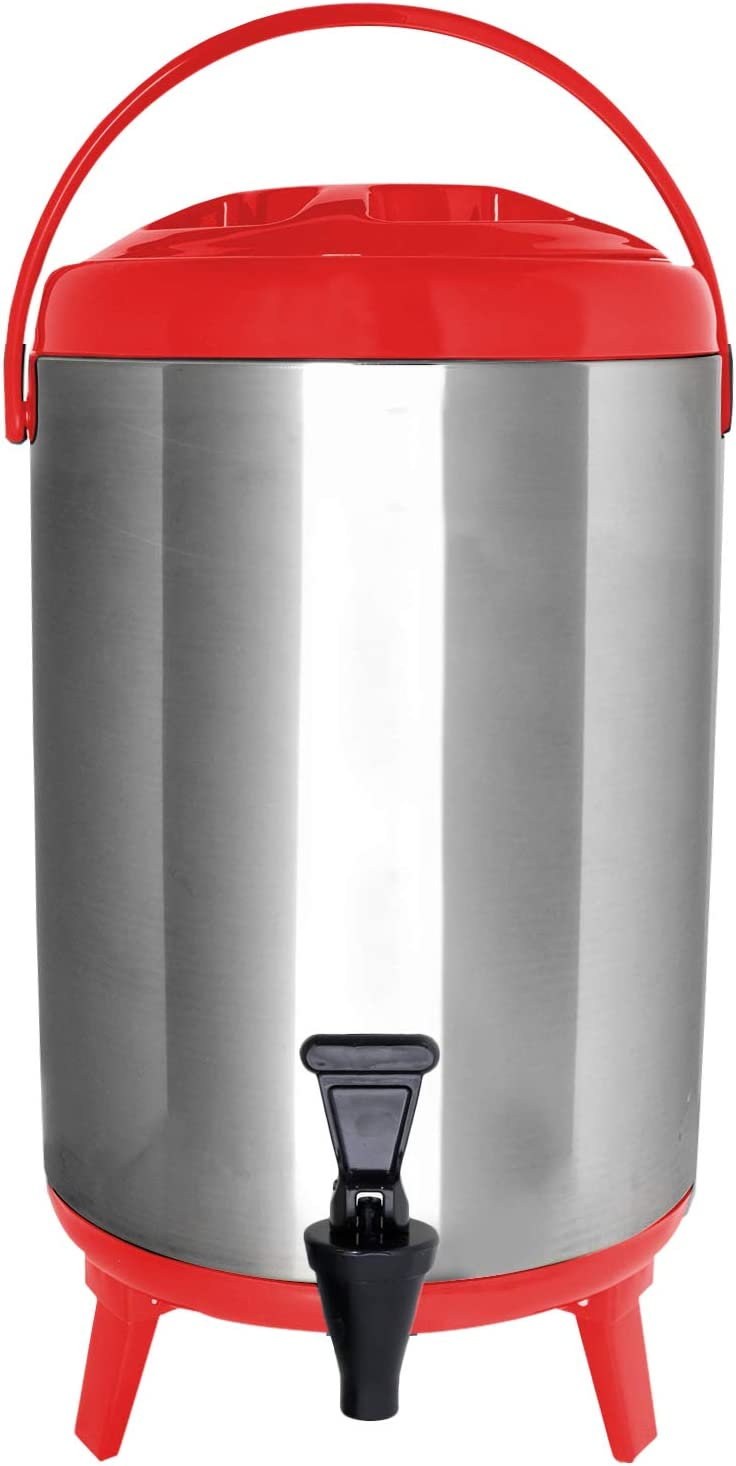 Vollum Stainles Steel Insulated Beverage Dispenser – Insulated Thermal Hot and Cold Beverage Dispenser – 12 Liter Drink Dispenser with Spigot for Hot Tea & Coffee, Cold Milk, Water, Juice & More RED