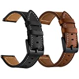 LDFAS Galaxy Watch 45mm/46mm Bands, Genuine Leather 22mm Watch Strap with Black Buckle Compatible for Samsung Galaxy Watch 3