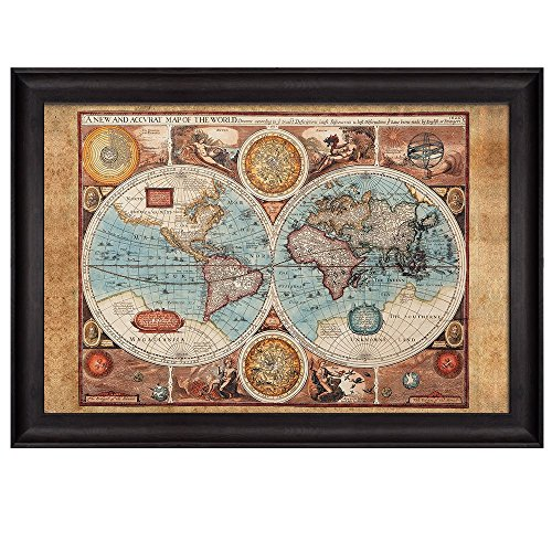 wall26 antique hemisphere map of the world with the elements framed art prints home decor 24x36 inches