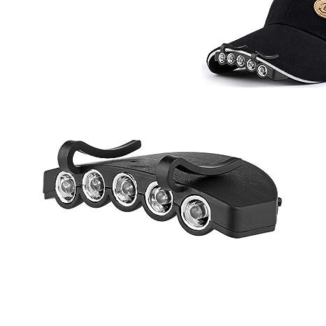 Owikar LED Cap Light 5 LED alimentato a batteria luce testa a mani libere cappello  luci ee2dfbab482d