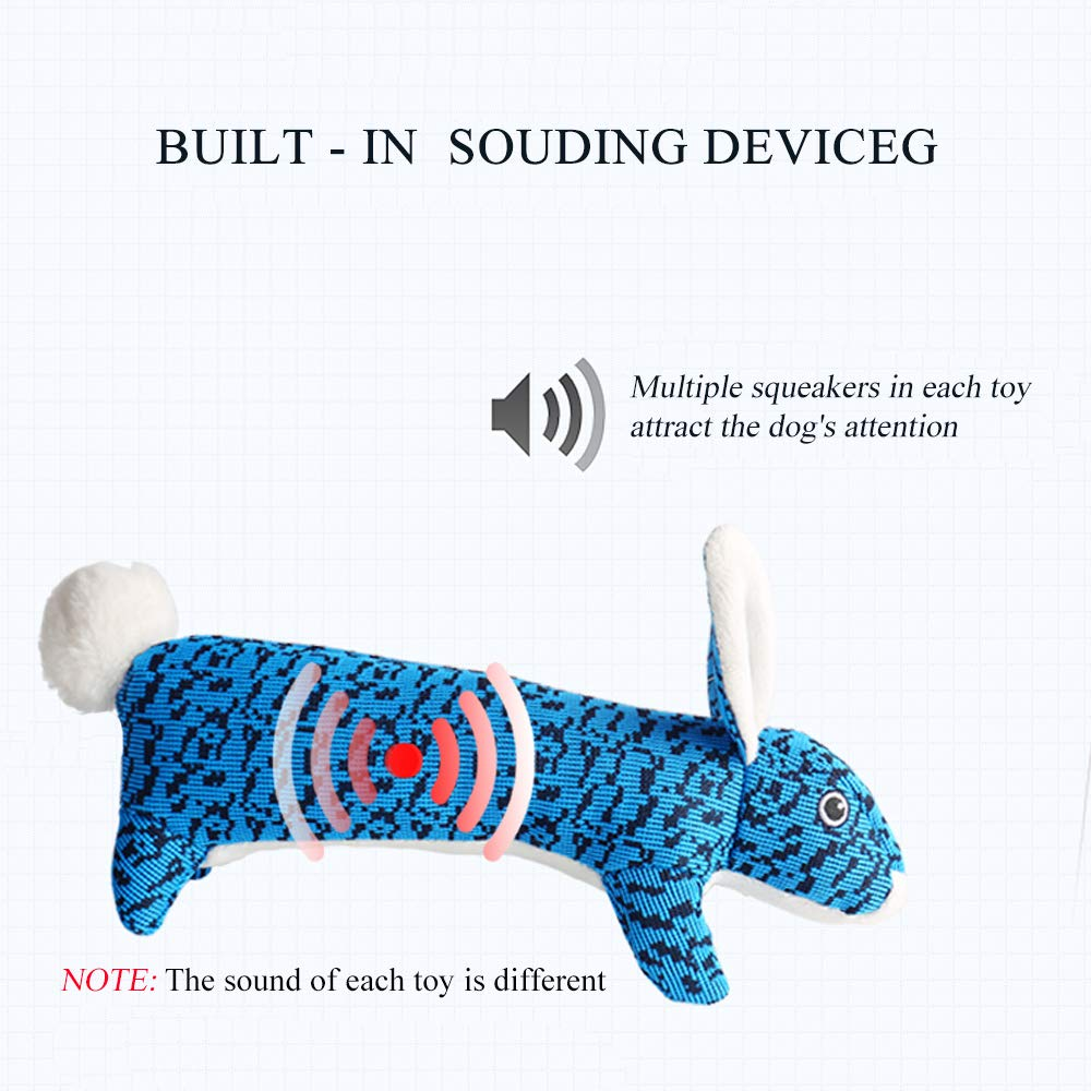 AXEN Cute Flyknit Durable Squeaky Rabbit Shaped Dog Toy for Aggressive Chewers, Rabbit Blue