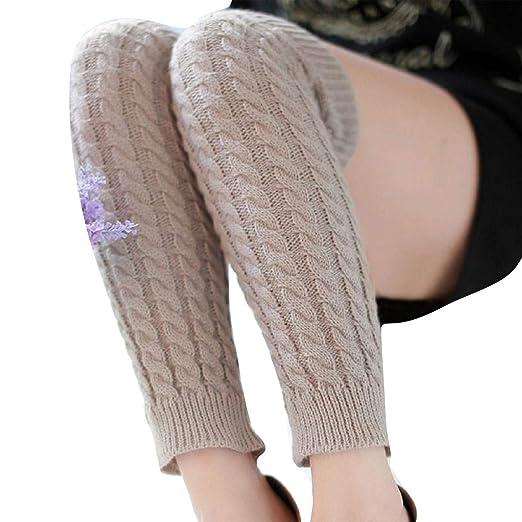 e5e5a1caae46b Amazon.com: Gillberry Womens Cable Knit Over Knee Long Boot Winter Warm  Thigh-High Soft Socks Leggings (Light Grey B): Clothing