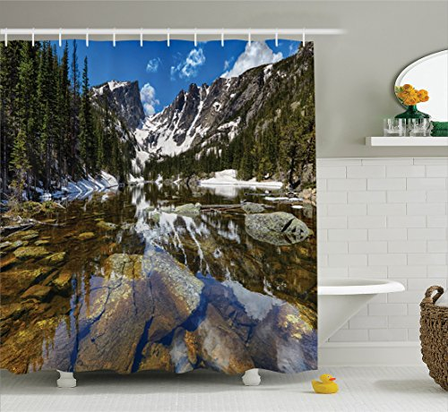 Ambesonne Lake House Decor Shower Curtain Set, Dream Mirroring Lake at The Mountain Park in West America River Snow Away Photo, Bathroom Accessories, 69W X 70L Inches, Green Brown Blue by Ambesonne