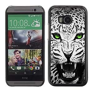 Stuss Case / Funda Carcasa protectora - Green Emerald Eyes Leopard Jaguar Black - HTC One M8