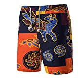 POHOK Men Shorts Floral Men's Retro Summer Beach Casual Print Drawstring Five Cents Trousers Pants (M,Yellow)