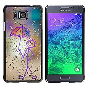 Design for Girls Plastic Cover Case FOR Samsung ALPHA G850 Childrens Drawing Stickman Art Umbrella Rain OBBA