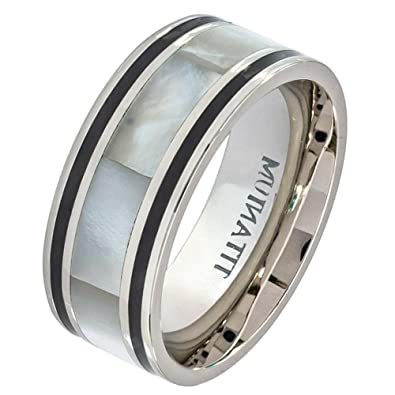 iPauly 9mm Titanium Pipe Cut with Mother of Pearl Inlay Wedding Band ...