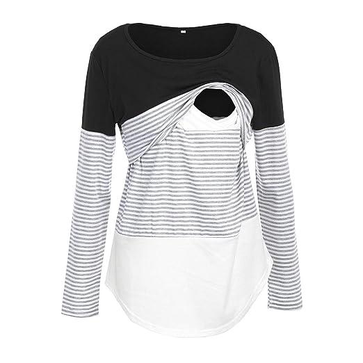 037950d4ea9 Nituyy Women Long Sleeve Nursing Tops for Breastfeeding Patchwork Stripe  Maternity Nursing Blouse T Shirts (