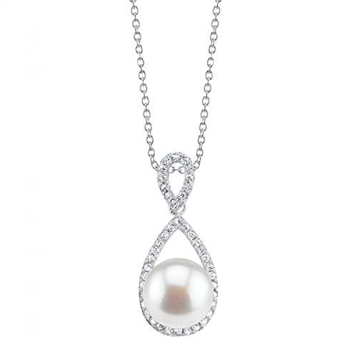 THE PEARL SOURCE 10-11mm Genuine White Freshwater Cultured Pearl Cubic Zirconia Lucky Pendant Necklace for Women