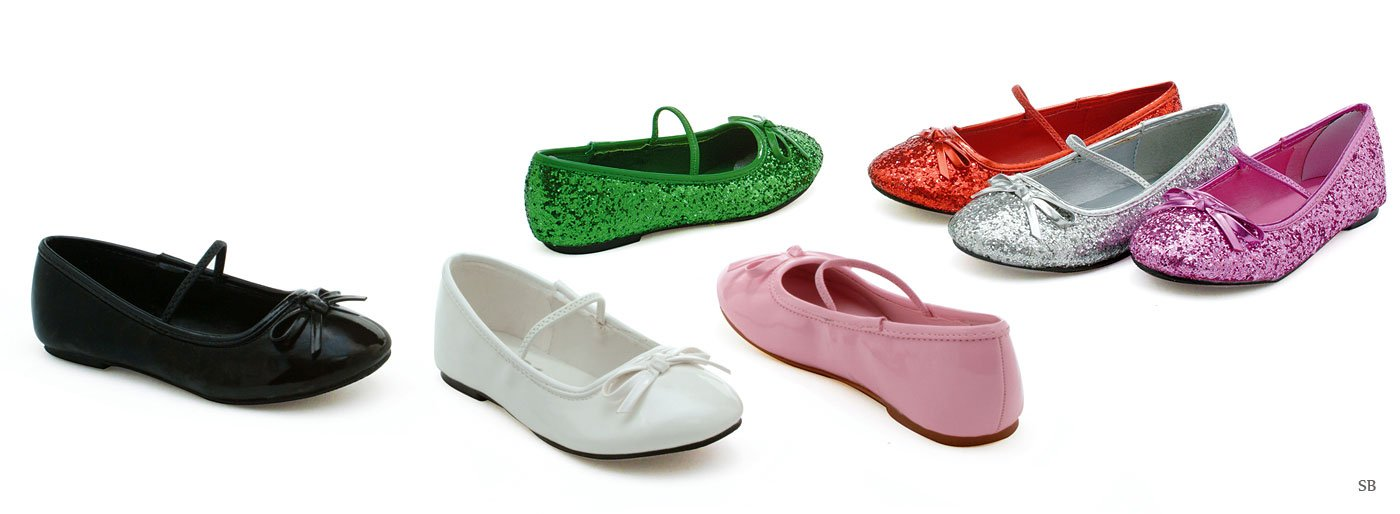0 Inch Heel Ballet Slipper With Glitter Children's (Pink Glitter;X-Large)