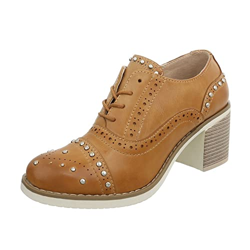 Zapatos para Mujer Mocasines Mini Tacón Zapatos con Cordones Marrón Tamaño 36