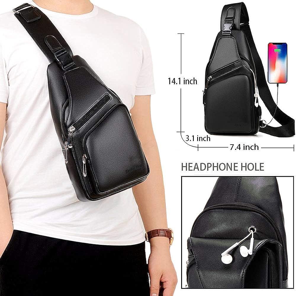 Men s Leather Sling Bag Travel Chest Crossbody Shoulder Backpack with USB Charging Port