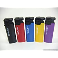 5 x TorJet Windproof Turbo Lighters Powerful Refillable Red Purple Black Yellow Blue Electric