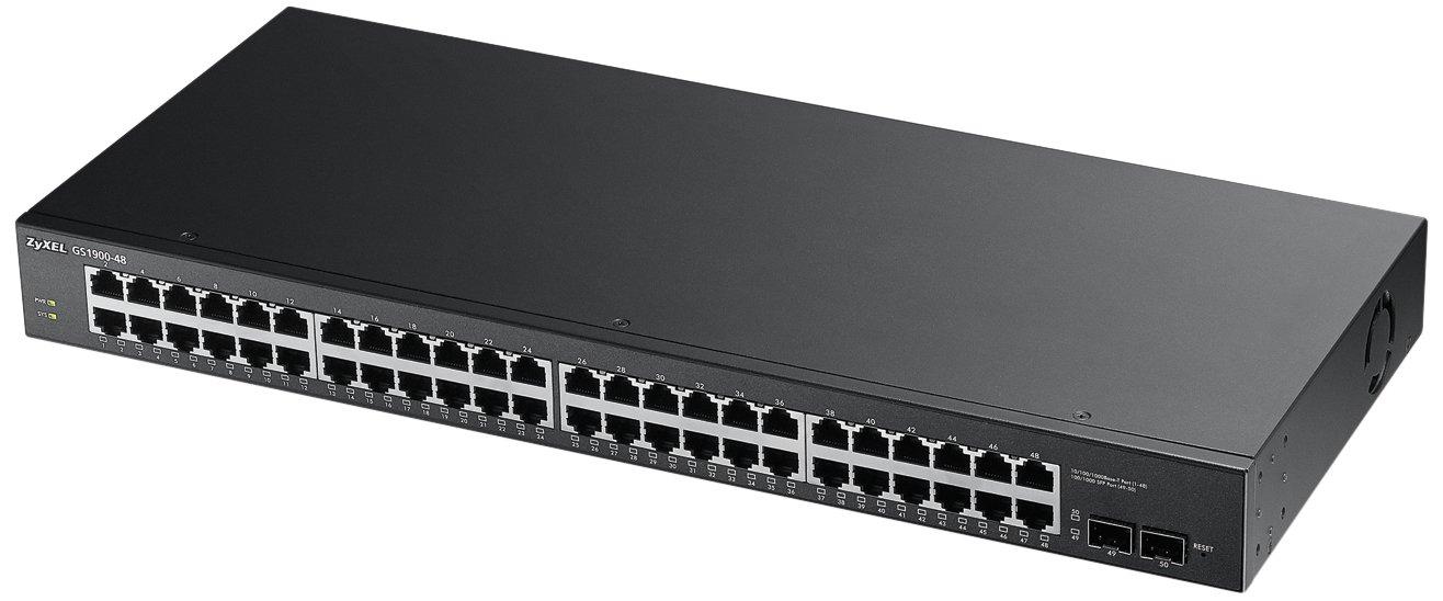 Zyxel48 Port Gigabit Switch, Easy Smart Managed, Rackmount, w/2x SFP (GS1900-48)