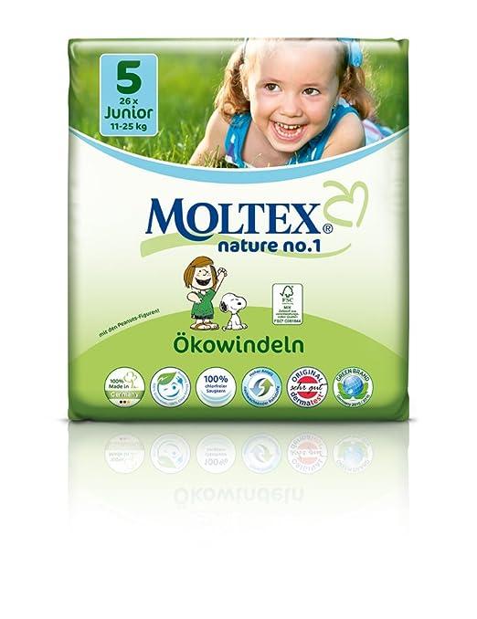 104 pcs MOLTEX Nature No1 diseño de Snoopy funda de almohada de Junior GR pañales 5 (11-25 kg) 4 x 26 pcs: Amazon.es: Bebé