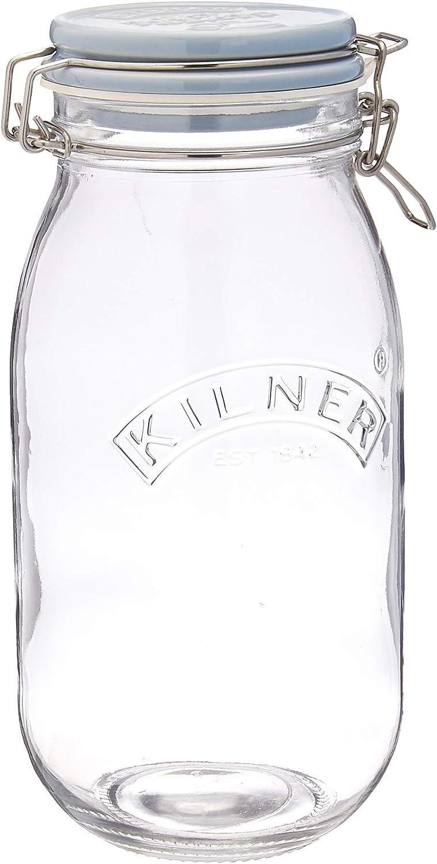 capacidad: 2 litros mermeladas Tarro para conservas base cuadrada y tapa de clip Kilner 0025.513