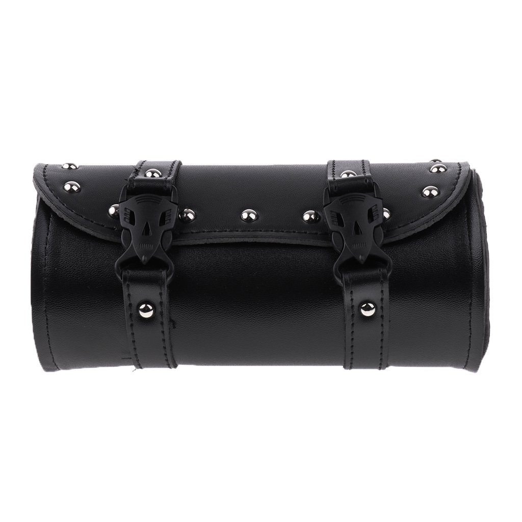 Baoblaze Motorcycle Tool Bag Luggage Saddlebag Roll Barrel Storage for Harley-Black