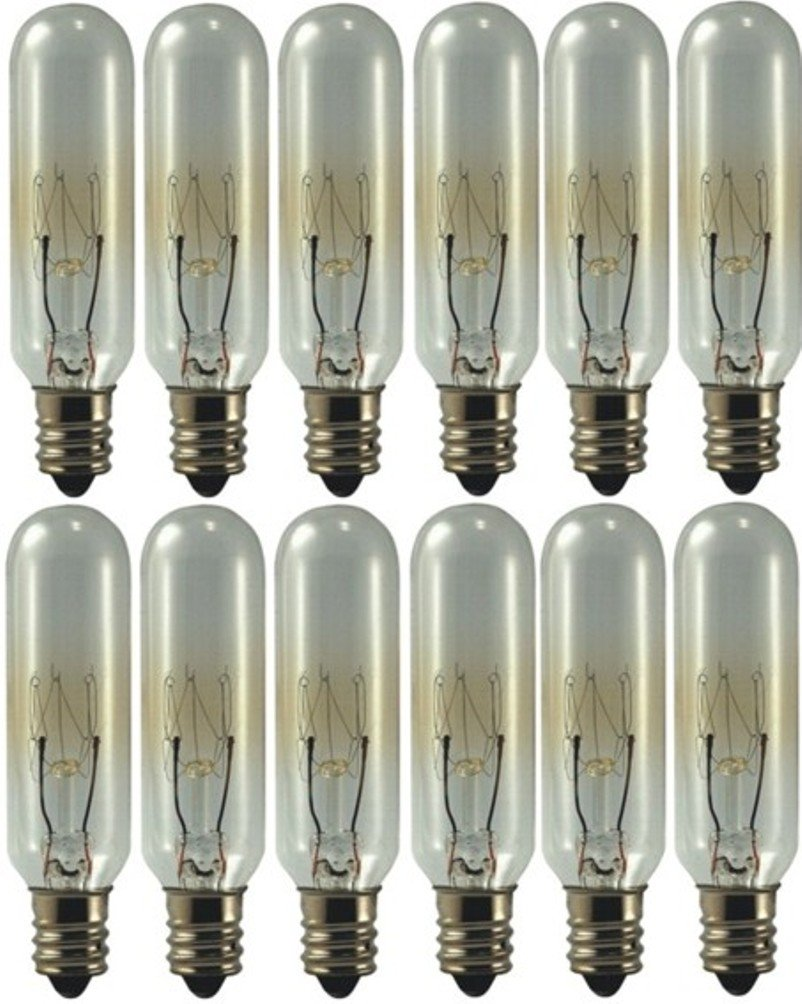 E12 2-Pack EiKO 15T6C145V Model 15T6C-145V Miniature Halogen Bulb 0.1 Amps 15 Watts 90 Lumens T-6 Bulb C-7A Filament Candelabra Screw Base 145 Voltage Rating