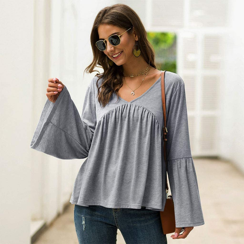 Lataw Women Plus Size Tops and Blouses Fashion Casual Solid V Neck Mesh Splicing Lantern Bat Sleeve T-Shirt Leisure Comfort Sweatshirt