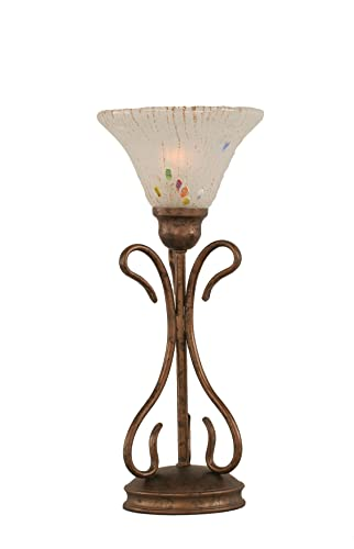 Toltec Lighting 31-BRZ-751 Swan One-Light Table Lamp Bronze Finish with Glass Shade, 7 , Frosted Crystal