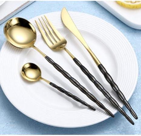 SYSFOUR 4 Piezas/Set Juego de Cubiertos de Oro Rosa Juego de vajilla Azul Juego de Cubiertos de Acero Inoxidable 18/10 Cubiertos de Mesa Occidentales Cubiertos, Oro Negro: Amazon.es: Hogar
