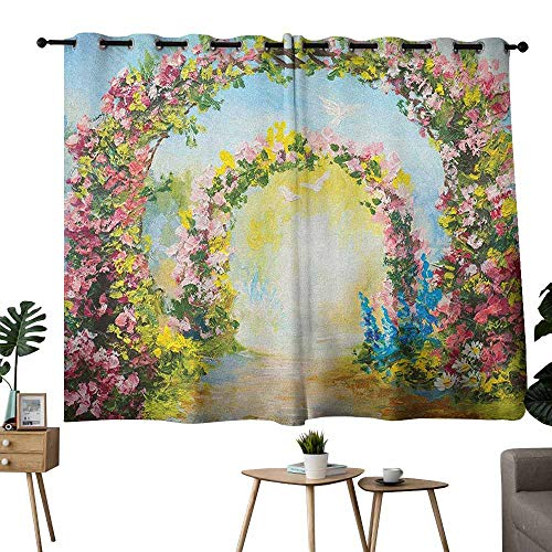 Mannwarehouse Country Soft Curtain Colorful Floral Arch in The Summer Park Romantic Feminine Boho Paint Style Print 70%-80% Light Shading, 2 Panels,55