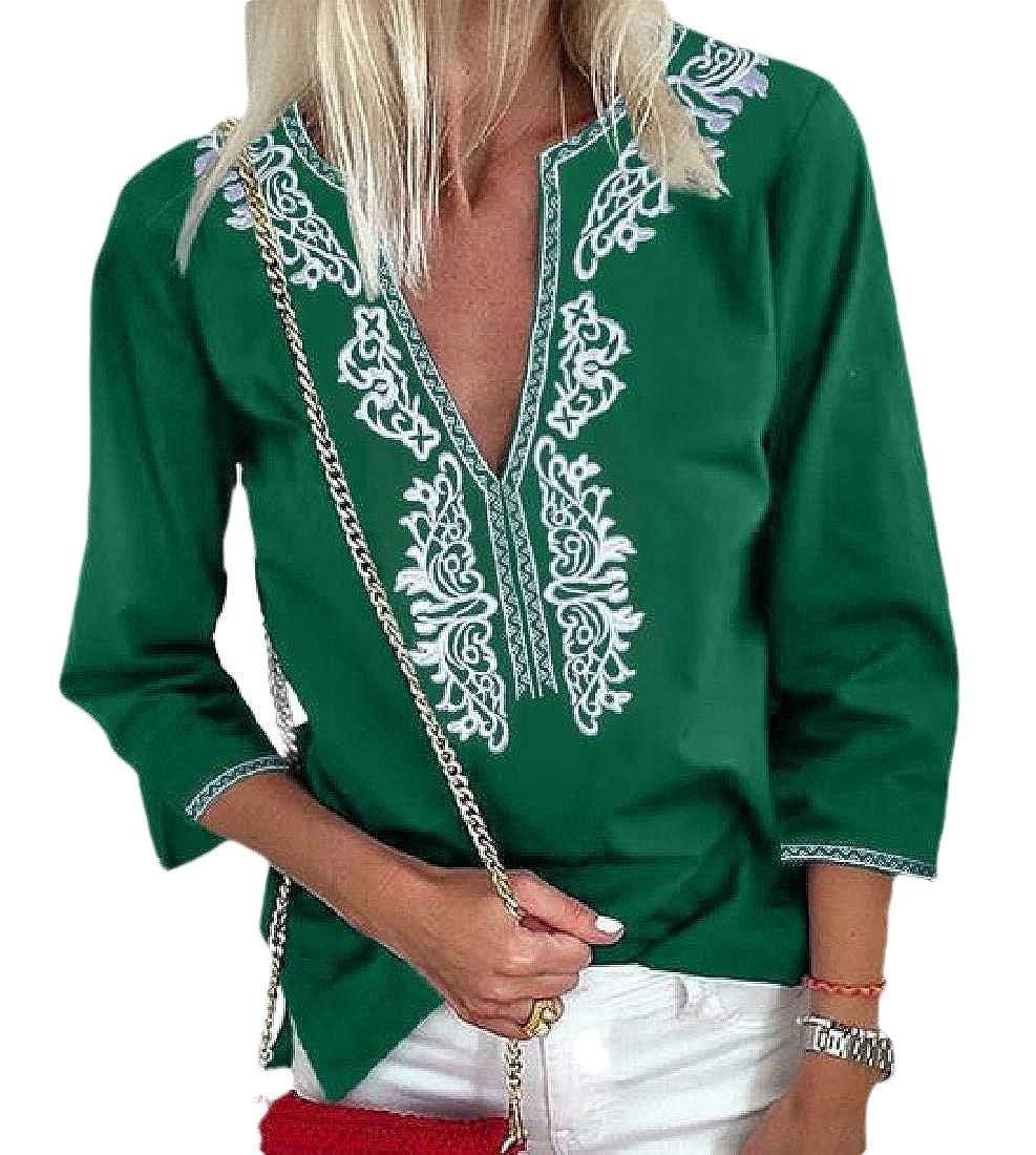Xswsy XG Womens Summer Boho Floral V Neck 3//4 Sleeve Casual T-Shirt Tops