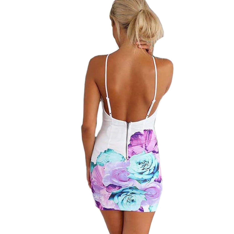 Internet Frauen schlank ärmellos rückenfreie Sommerkleid Floral Print Gallus