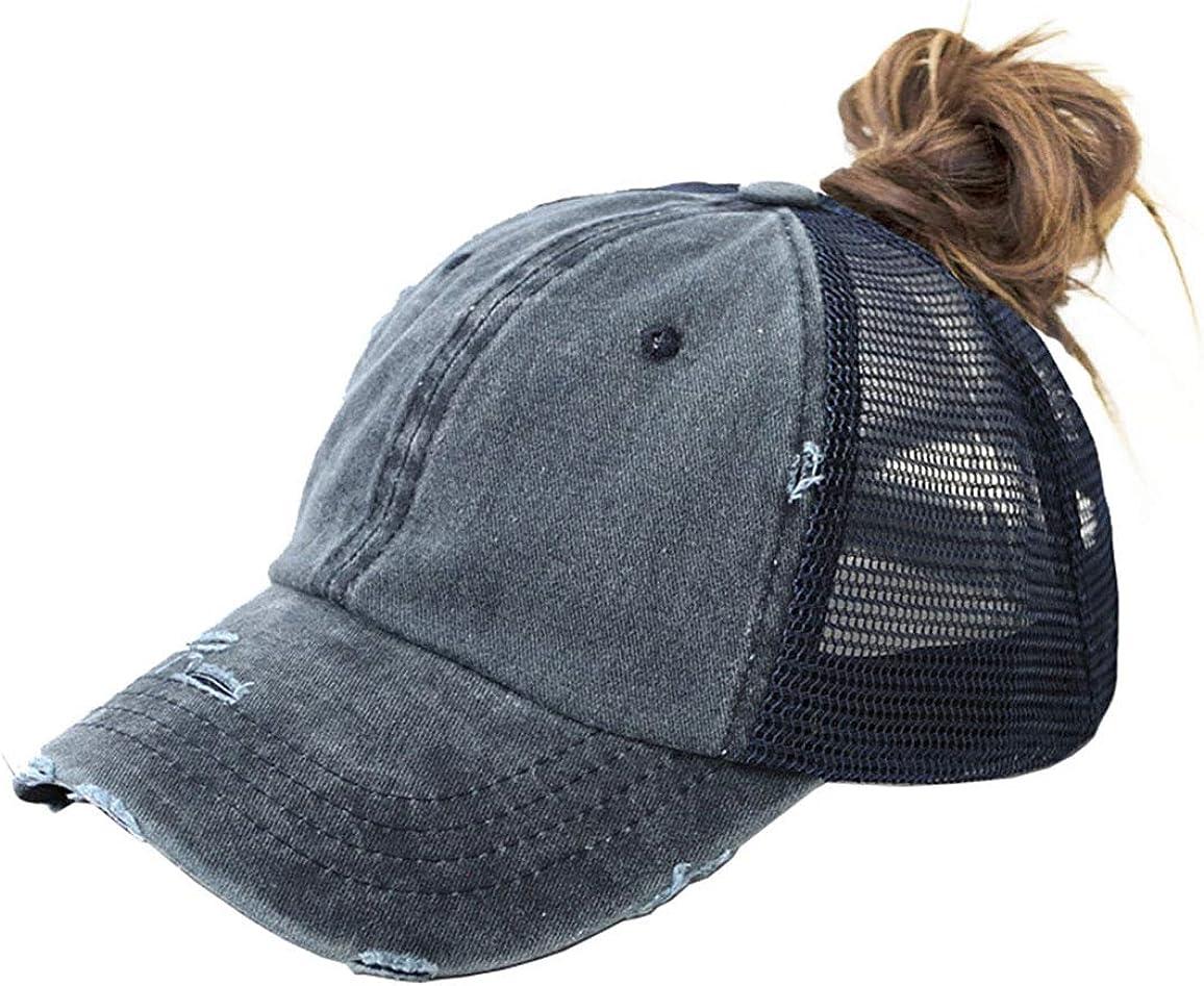 Women Ponytail-Baseball-Sun-Hat Messy-High-Bun with Ponytail-Hole