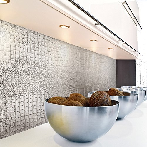 WallFace 13800 CROCO NOVA Wall panel leather 3D interior decoration luxury wallcovering self-adhesive Platin | 2,60 sqm by Wallface (Image #7)