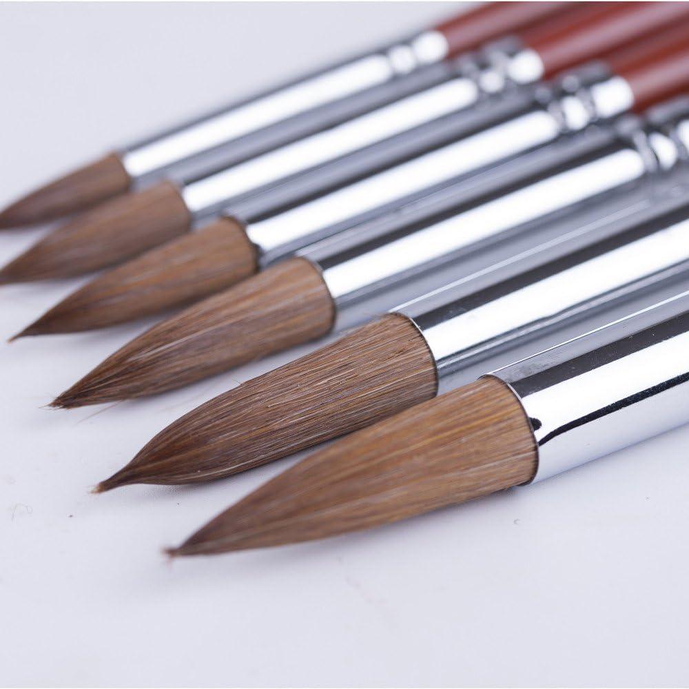 jland artista pintura cepillos con mayor Calidad, calidad profesional pintura cepillo rojo cepillo de pelo de marta cibelina (Mustela) pinta Set para acuarela pintura al óleo 6unidades