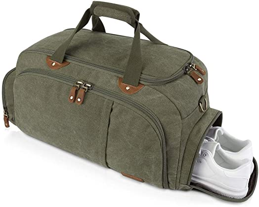 Plambag Sports Gym Duffel Bag with Shoes Compartment, Canvas Travel Luggage Tote Shoulder Bag for Men Women Army Green
