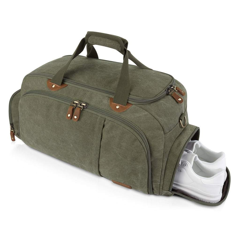 Plambag Sports Gym Duffel Bag with Shoes Compartment, Canvas Travel Luggage Tote Shoulder Bag for Men & Women(Army Green)