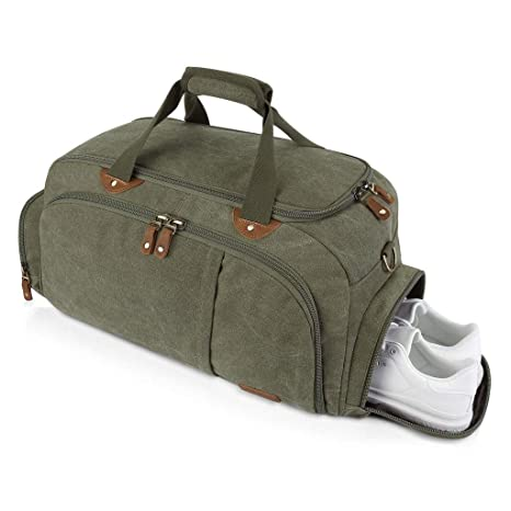 7e18b3206aa4 Plambag Sports Gym Duffel Bag with Shoes Compartment, Canvas Travel Luggage  Tote Shoulder Bag for Men & Women(Army Green)