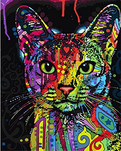 ABEUTY DIY Paint by Numbers for Adults Beginner - Colorful Cat Head 16x20 inches Number Painting Anti Stress Toys (Wooden Framed) (Head Deer Framed)