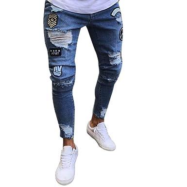 de5735381 OVERDOSE Homme Jean Slim Style Motard, Grande Taille Vintage Denim  Pantalons Moulant Effet Vieilli Sexy Skinny Bleu Délavé Slim Trousers avec  ...