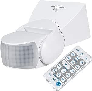 Maclean 58543 MCE241 Sensor de Movimiento por Infrarrojos, Interruptor de luz automático con Mando a Distancia, IP65, ángulo de detección de 180 Grados hasta 12 m: Amazon.es: Bricolaje y herramientas