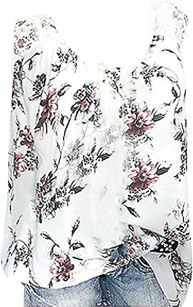 Femmes Imprimé Fleur Chemisier, Grande Taille sans Manches