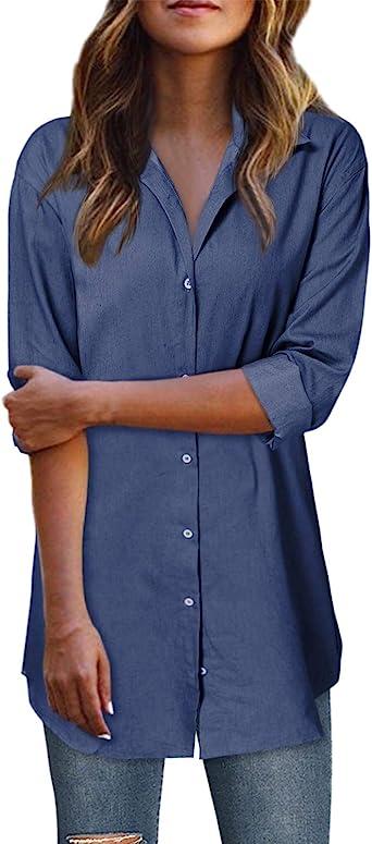 Style Dome Camisa de Mujer Vestido Denim Tunic Jean Button Mini Vestido de Manga Larga Camisa de Invierno Tops Largos Blusa Azul oscuro-C07795 L