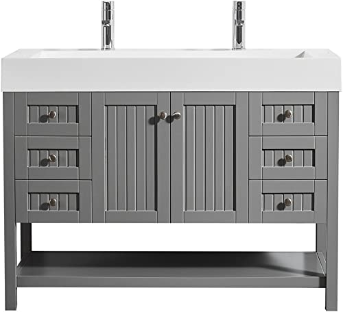 Vinnova 755048-GR-WH-NM Pavia 48 Single Vanity