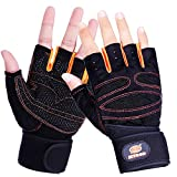 Unisex Black Pro Specialized Orienteering Treadmill Bicycle Horse Riding Photograph Camp Downhill Mtb BMX Fitness Motorbike Road Cycling Roller Skating Rock Climbing Leather Wrist Glove (Orange, L)