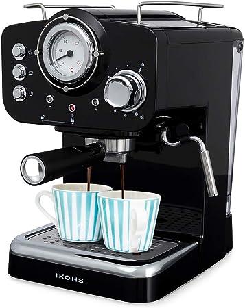 IKOHS THERA Retro - Cafetera Express para Espresso y Cappucino, 1100W, 15 Bares, Vaporizador Orientable, Capacidad 1.25l, Café Molido y Monodosis, con Doble Salida (Negro): Amazon.es: Hogar