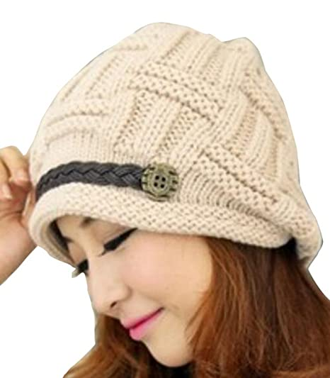 Vocni Womens Warm Caps Winter Stretch Chunky Cable Knit Outdoors ... bff41d3ce