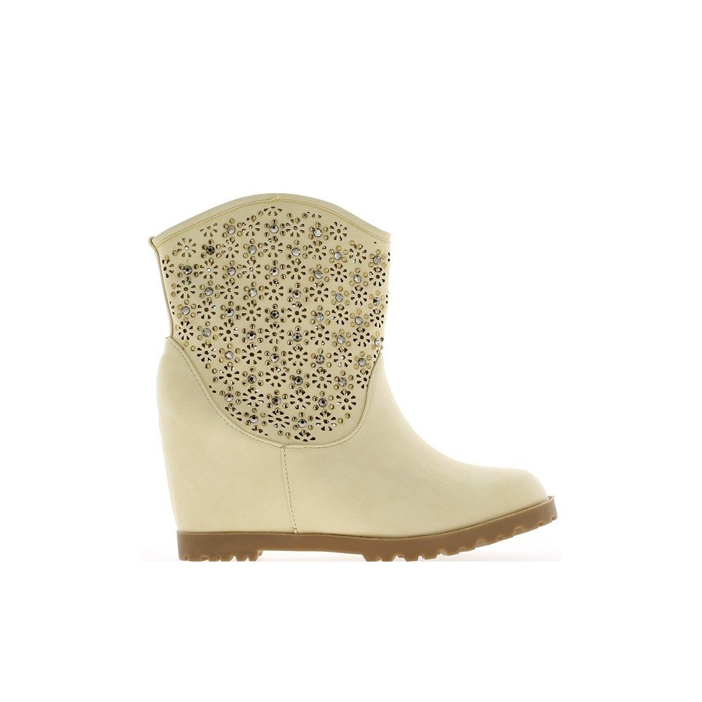 892fa014feff Compensated beige boots louvered 8cm heel and rhinestones - 7.5   Amazon.co.uk  Shoes   Bags